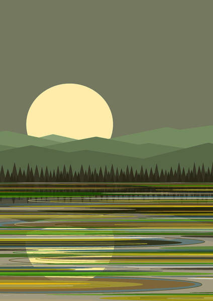 Digital Art - Early Morning Moon by Val Arie