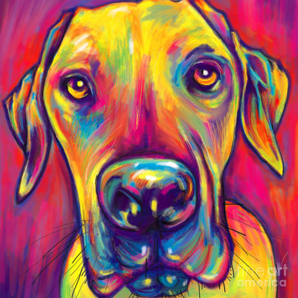 Black Great Dane Painting - Early Morning Nose by Julianne Black DiBlasi