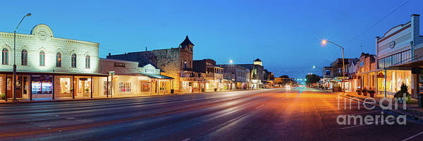 Wall Art - Photograph - Early Morning Panorama Of Fredericksburg Main Street - Gillespie County Texas Hill Country by Silvio Ligutti