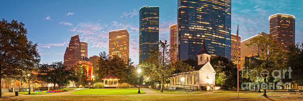 Photograph - Early Morning Panorama Of Sam Houston Park At Downtown Houston - Harris County Texas by Silvio Ligutti