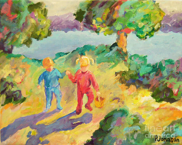 Skipping Painting - Early Morning - Little Children by Peggy Johnson