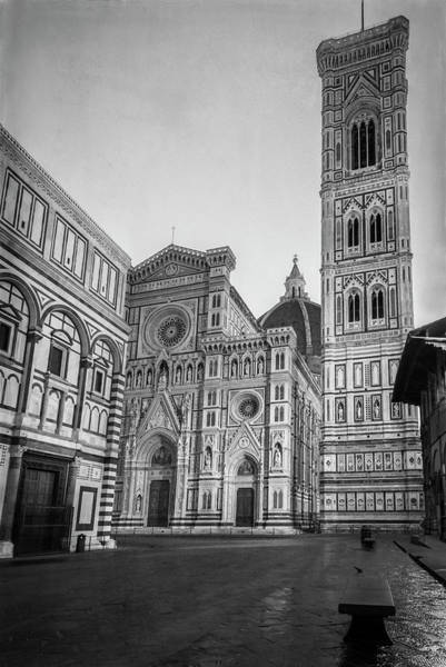 Wall Art - Photograph - Early Morning Piazza Del Duomo Florence Italy Bw by Joan Carroll