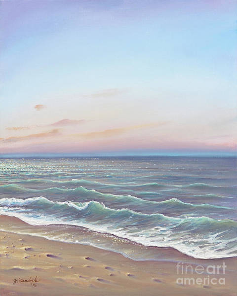 Santa Cruz Island Wall Art - Painting - Early Morning Waves by Joe Mandrick