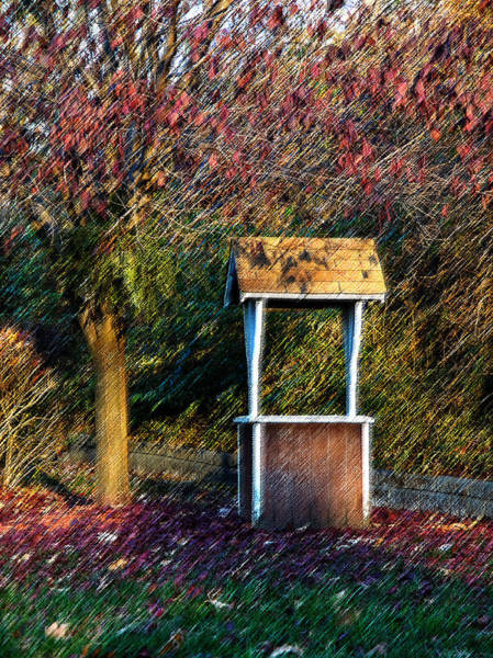 Wall Art - Photograph - Early Morning Wishing Well On Burlap by Jim DeLillo