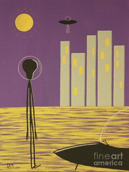 Digital Art - Early Painting Alien In The City by Donna Mibus