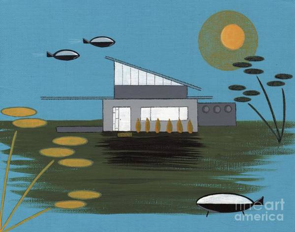 Digital Art - Early Painting Futuristic House by Donna Mibus