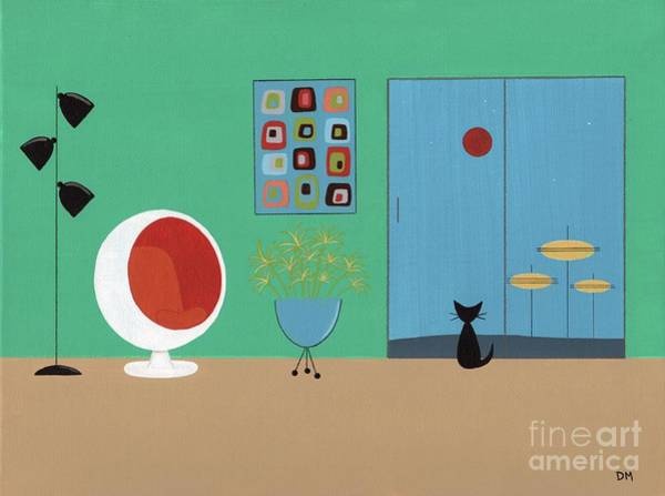 Digital Art - Early Painting Mid Century Room by Donna Mibus