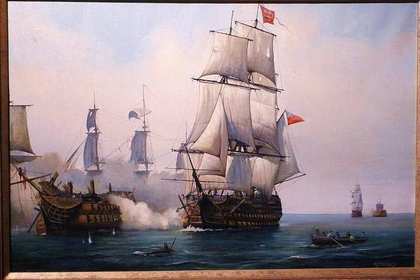 Victory Painting - Early Painting Of The Battle Of Trafalgar. by Mike Jeffries