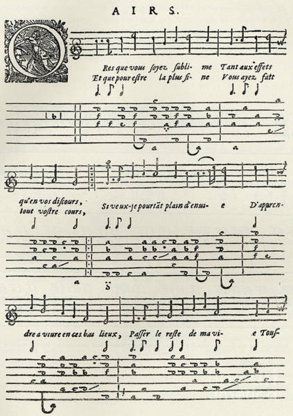 Wall Art - Drawing - Early Printed Lute Score From 17th Century, With French Lyrics by French School