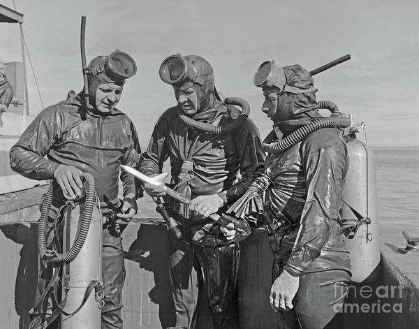 Photograph - Early Scuba Divers In Dry Suits On Monterey Bay Circa 1955 by California Views Archives Mr Pat Hathaway Archives