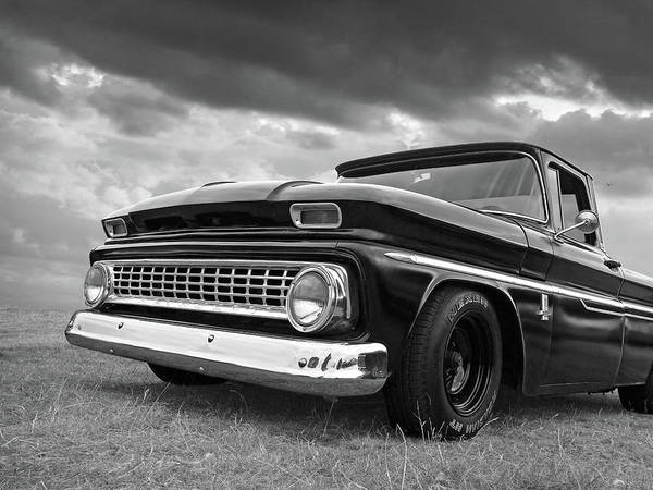 Photograph - Early Sixties Chevy C10 In Black And White by Gill Billington