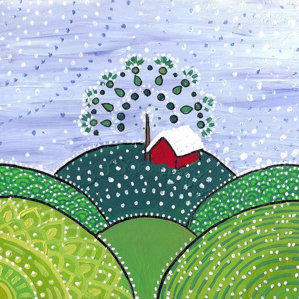 Painting - Early Snow On The Little Red Barn by Caroline Sainis