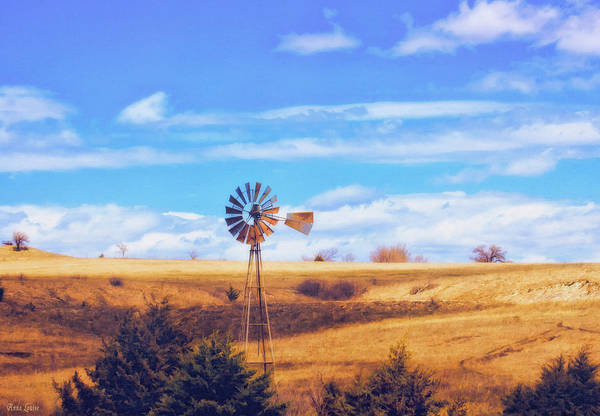 Photograph - Early Spring Kansas Prairie And Windmill by Anna Louise