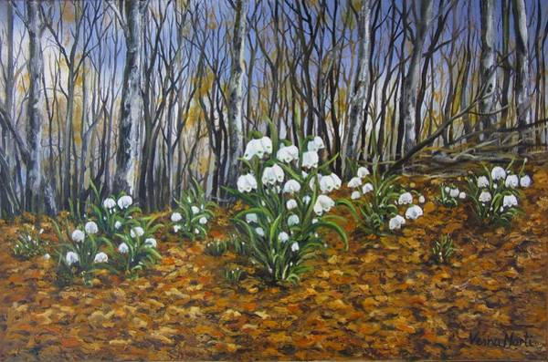 Snowdrop Painting - Early Spring by Vesna Martinjak