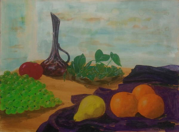 Painting - Early Still Life With Pear And Oranges by Frank Hunter