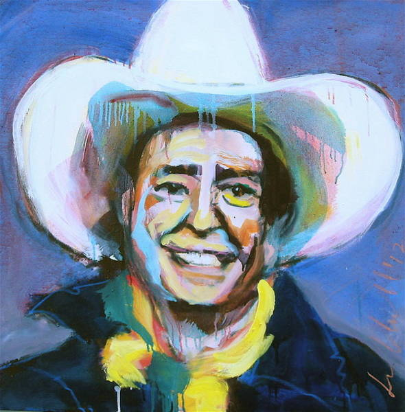 Painting - Early Willie The Flying Cowboy by Les Leffingwell