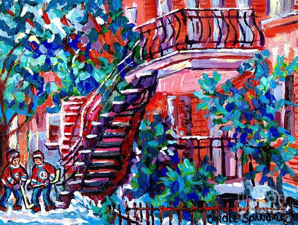Painting - Early Winter French Staircase Montreal Snowscene Quebec Hockey Art Canadian Painting Carole Spandau by Carole Spandau