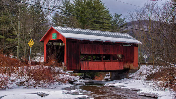 Photograph - Early Winter Snow At The Upper Cox Covered Bridge. by New England Photography