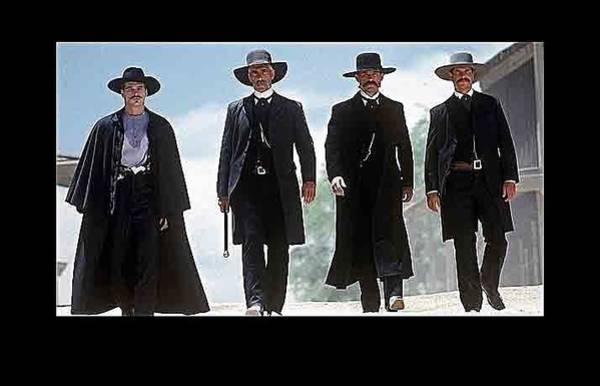 Wall Art - Photograph - Earp Brothers And Doc Holliday Approaching O.k. Corral Tombstone Movie Mescal Az 1993-2015 by David Lee Guss