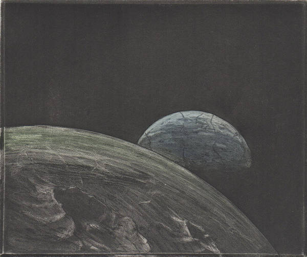 Drawing - Earth And Moon  by Erik Paul