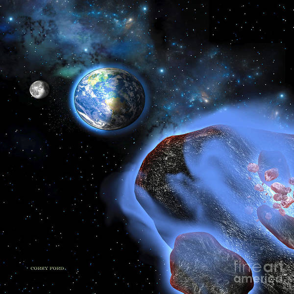 Endless Painting - Earth Asteroids by Corey Ford