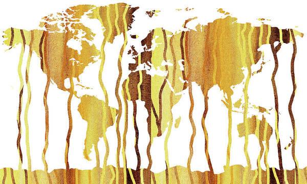 Painting - Earth Canvas Map Of The World  by Irina Sztukowski