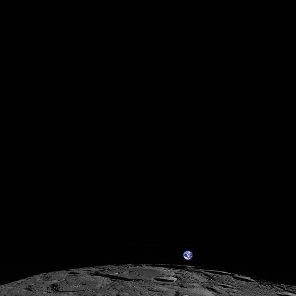 Photograph - Earth From Its Orbit  The Moon by Artistic Panda