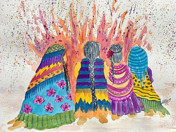 Crone Wall Art - Painting - Earth Mothers - Feeding  The Fire by Ellen Levinson