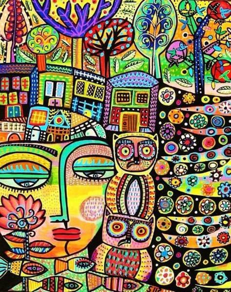 Earth Owl Goddess Art Print