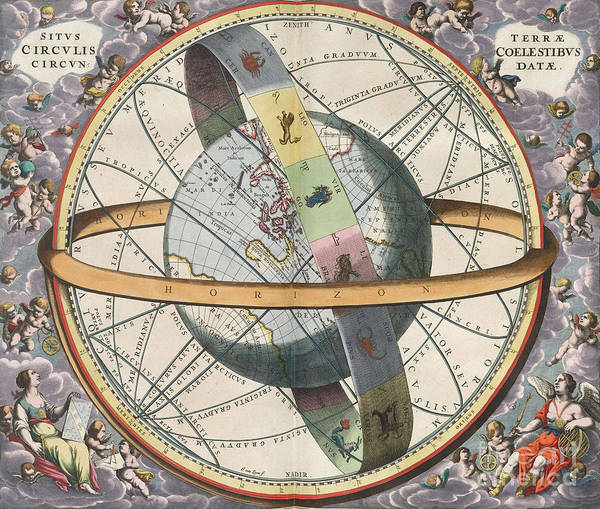 Photograph - Earth With Celestial Circles Harmonia by Science Source