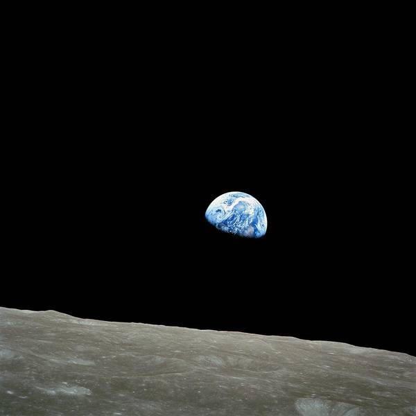 Sixties Photograph - Earthrise - The Original Apollo 8 Color Photograph by Nasa