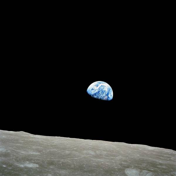 Wall Art - Photograph - Earthrise Over Moon, Apollo 8 by Nasa