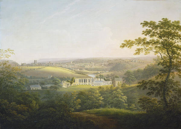 Wall Art - Painting - Easby Abbey - Near Richmond by George Cuitt The Younger