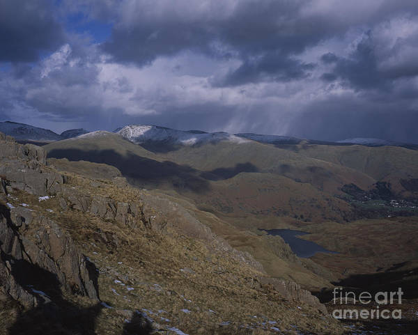 Grasmere Wall Art - Photograph - Easedale Tarn With The Snow Capped Summits Seat Sandal And Fairfield In The Background Grasmere  by Michael Walters