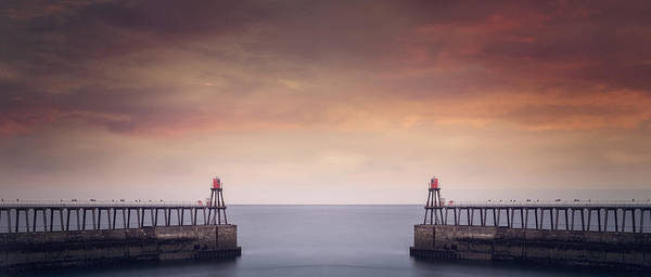 Wall Art - Photograph - East And West Whitby Pier by Ian Barber