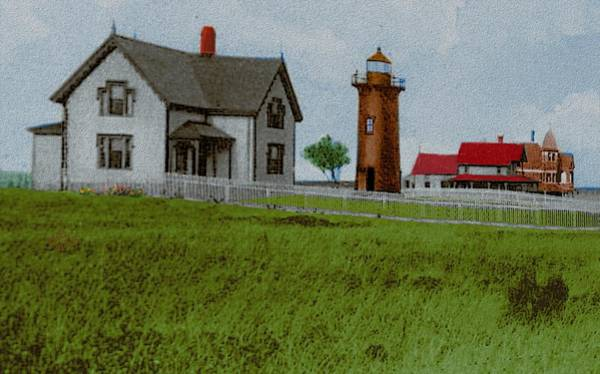 Oak Harbor Painting - East Chop Light Early 1900s by Cliff Wilson