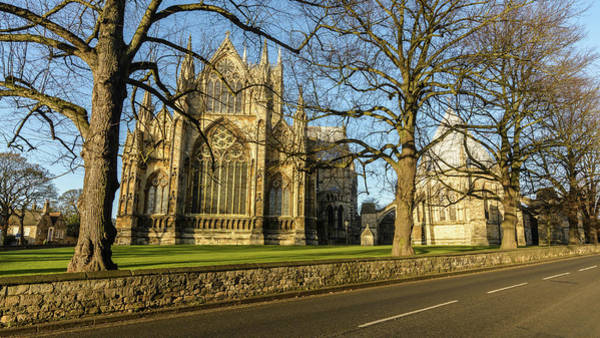 Photograph - East Facade Of Lincoln Cathedral Behind Bare Winter Trees by Jacek Wojnarowski