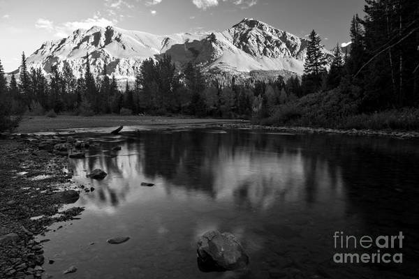 Photograph - East Glacier Reflections Black And White by Adam Jewell