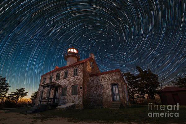 East Point Photograph - East Point Light Vortex Star Trails by Michael Ver Sprill