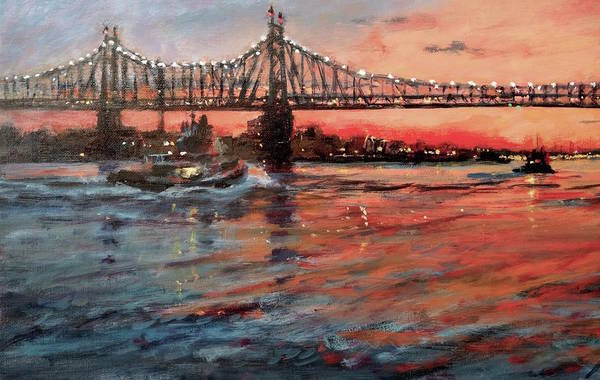 Roosevelt Island Wall Art - Painting - East River Tugboats by Peter Salwen
