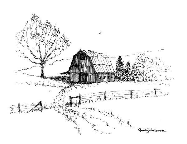 Drawing - East Texas Hay Barn by Randy Welborn