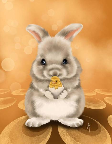 Wall Art - Painting - Easter Bunny by Veronica Minozzi