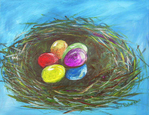 Ostern Wall Art - Painting - Easter Egg Nest by Iris Richardson