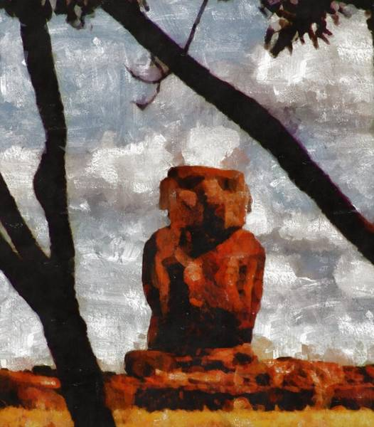 Pixie Painting - Easter Island by Mary Bassett