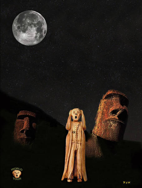 Mixed Media - Easter Island The Scream World Tour by Eric Kempson