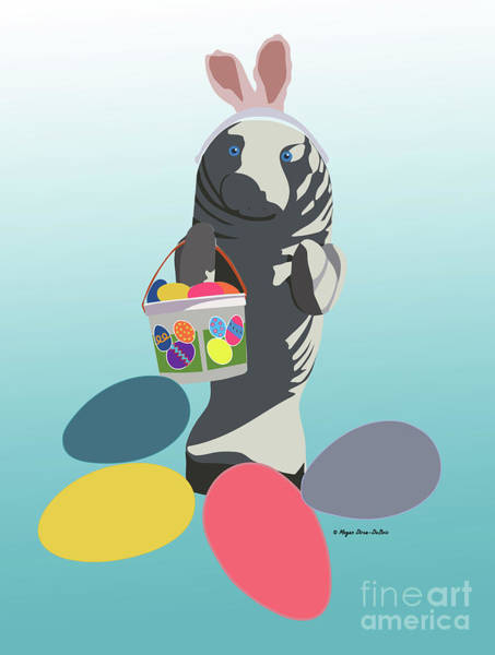 Digital Art - Easter Manatee by Megan Dirsa-DuBois