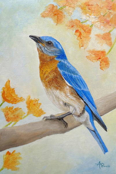 Painting - Eastern Bluebird Among Flowers by Angeles M Pomata