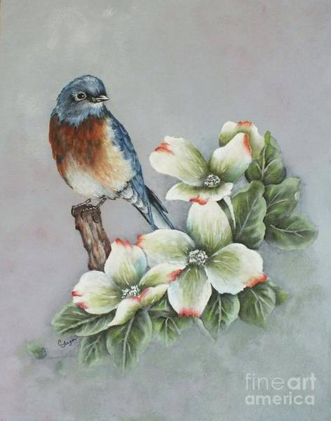 Eastern Bluebird Painting - Eastern Bluebird And Dogwood - Acrylic Painting  by Cindy Treger