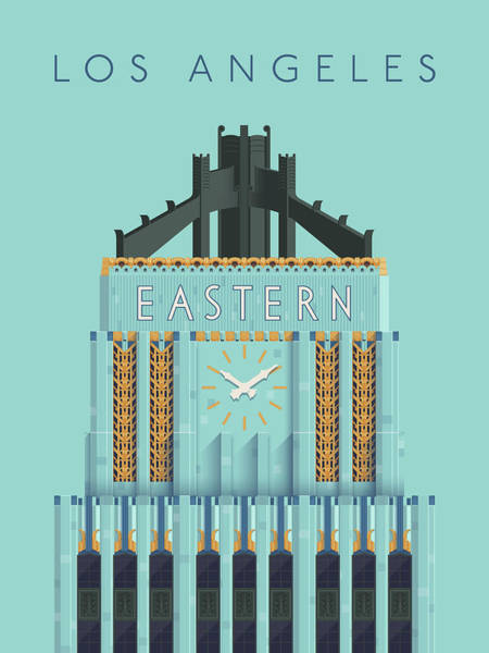 Eastern Digital Art - Eastern Columbia Building Art Deco - Aqua by Ivan Krpan