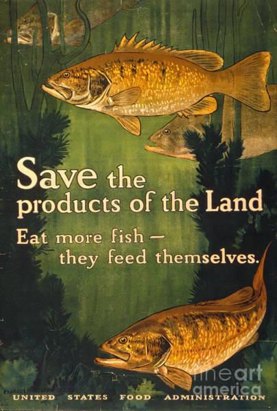 Wall Art - Photograph - Eat More Fish Vintage World War I Poster by John Stephens